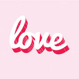 Red and white love lettering on pink background Stock Image