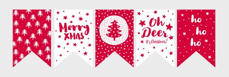 Cute Hand Drawn Vector Bunting Set. Christmas Party Decoration. stock illustration