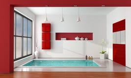 Red and white luxury bathroom. Minimalist luxury bathroom wit big bathtub - rendering Royalty Free Stock Photos