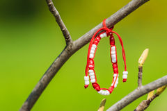 Red And White Martisor Decoration Hanging On A Tree Royalty Free Stock Image