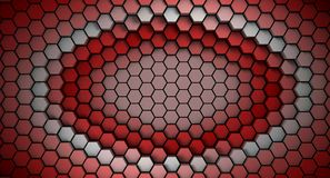 Red and white material hexagons background template. 3d Render. Illustration stock illustration
