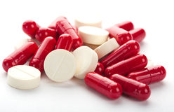 Red and white medicines Royalty Free Stock Image