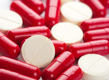 Red and white medicines Royalty Free Stock Images