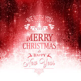 Red white Merry Christmas typography card with lights and snowfl Stock Photography