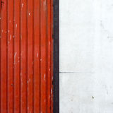 Red and White. Minimal squared compo with red sliding damper and a white wall Stock Image