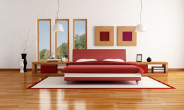 Red and white  modern bedroom Royalty Free Stock Image