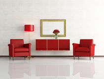 Red and white modern interior Royalty Free Stock Image