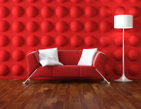 Red and white modern interior stock illustration