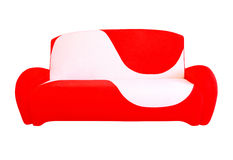 Red and white modern sofa.Isolated. Royalty Free Stock Photography