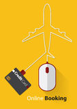 Red and White Mouse in Online Booking Concept with credit card, Line plane in flat design. Stock Image