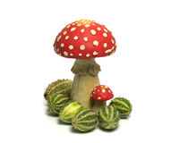 Red white mushroom with green melons Royalty Free Stock Photo