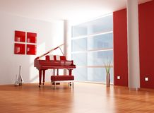 Red and white  music room Royalty Free Stock Photography