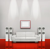 Red and white music room. Red and white listening room with white speakers and sofa vector illustration