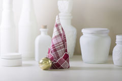 Red and white napkin folded,  forming a Christmas tree Royalty Free Stock Photo