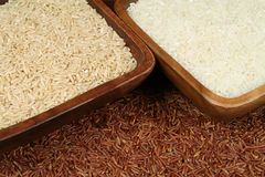 Red, white and natural rice Stock Image