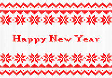 Red and white New Year knit greeting card Royalty Free Stock Image