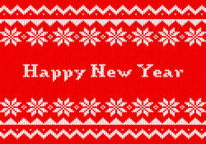 Red and white New Year knit greeting card Royalty Free Stock Photography