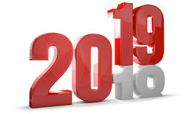 2019 red white new year sylvester 3d render Stock Images