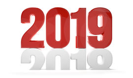 2019 red white new year sylvester 3d render Stock Photo