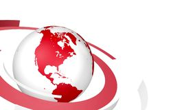 Red and white news style globe background loop stock footage