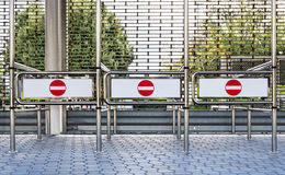 Red and white No Entry Signs at a closed Entrance Royalty Free Stock Images