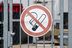 No Smoking Sign on Gate royalty free stock photos