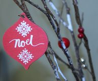 Red and White Noel Print Decor Royalty Free Stock Photos