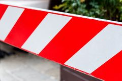 Red and white non-entry barrier. Restricted area. Red and white non-entry barrier. Restricted area Royalty Free Stock Images