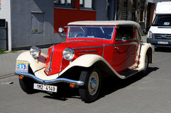 Red - white  oldtimer TATRA Royalty Free Stock Photo