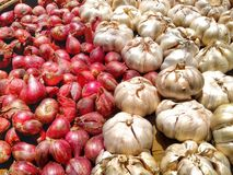 Red onions and white garlic Royalty Free Stock Photography