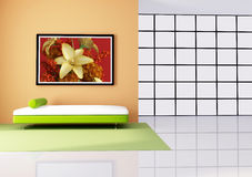 Red white and orange minimalist living room. Minimalist interior with white and green sofa- rendering - the art picture on wall is a my rendering composition royalty free illustration