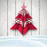 Red and white origami chritmas tree, holiday theme, illustration Royalty Free Stock Photos