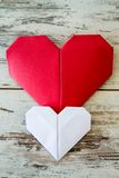Red and White Origami Hearts Stock Photography