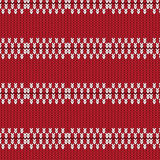 Red and white oval row knitted pattern background Royalty Free Stock Photos