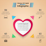 Red and white paper hearts Valentines day. Abstract 3D digital illustration Infographic. Royalty Free Stock Photography