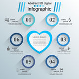 Red and white paper hearts Valentines day. Abstract 3D digital illustration Infographic. Royalty Free Stock Images