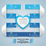 Red and white paper hearts Valentines day. Abstract 3D digital illustration Infographic. Royalty Free Stock Photo