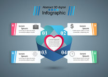 Red and white paper hearts Valentines day. Abstract 3D digital illustration Infographic. Stock Photography