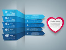 Red and white paper hearts Valentines day. Abstract 3D digital illustration Infographic. Stock Photo