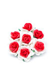 Red and white paper roses. Stock Photo