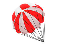 Red and White parachute. On a white background Royalty Free Stock Images