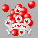 Red and white party balloons for national day of Canada Royalty Free Stock Photography