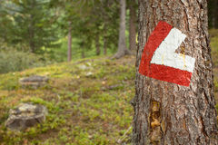 Red and white path sign painted in a stone inside a woods, in a Royalty Free Stock Photography