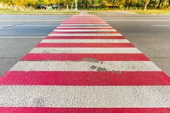 Red and White Pedestrian Crossing Royalty Free Stock Image