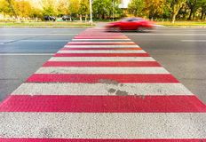 Red and White Pedestrian Crossing Royalty Free Stock Photos