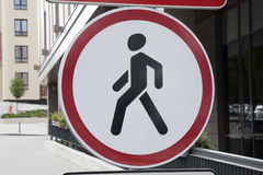 Red and White Pedestrian Sign Stock Images