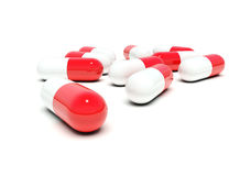 Red-white pills Stock Image