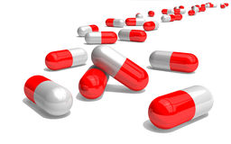 Red and white pills. 3d red and white pills Royalty Free Stock Photos