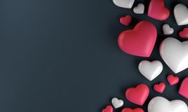 Red white pink heart background, love valentine day. 3d rendering Stock Photography