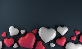 Red white pink heart background, love valentine day. 3d rendering Royalty Free Stock Images